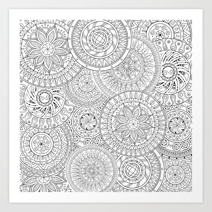 Circle Doodle Art Art Print by casesbykate | Society6