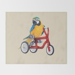 Parrot macaw on red bike Throw Blanket