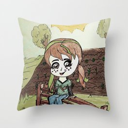Garden Fence {Carrots & Tofu} Throw Pillow