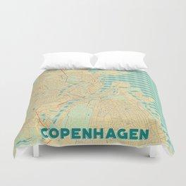Copenhagen Map Retro Duvet Cover