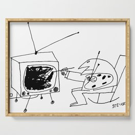 Saul Steinberg Man Painting Television, American Cartoonist Artwork Reproduction for Prints Posters Serving Tray