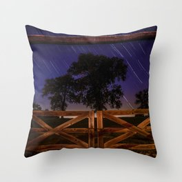 Meteor Shower on a Farm Throw Pillow