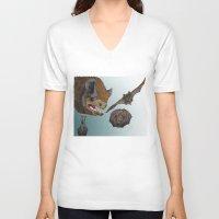 bats V-neck T-shirts featuring Bats by Akira Hikawa