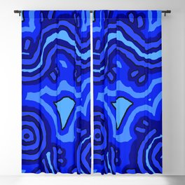 Authentic Aboriginal Art - Blue Campsites Blackout Curtain