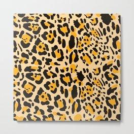 Yellow Cheetah print Metal Print
