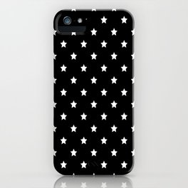 Black Background With White Stars Pattern iPhone Case