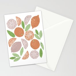 Oranges pattern in blue Stationery Cards