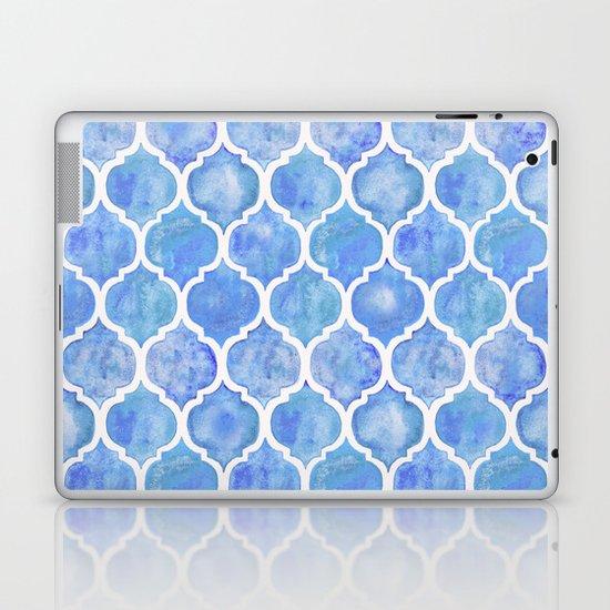 Cornflower Blue Moroccan Hand Painted Watercolor Pattern Laptop & iPad Skin