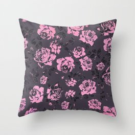Blush Pink and Black Floral Print Rustic Roses Throw Pillow