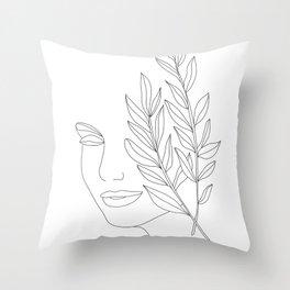 Minimal Line Art Woman Face Throw Pillow