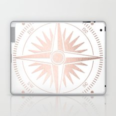Rose Gold on White Compass Laptop & iPad Skin