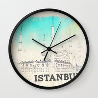 istanbul Wall Clocks featuring Istanbul by Shakeel