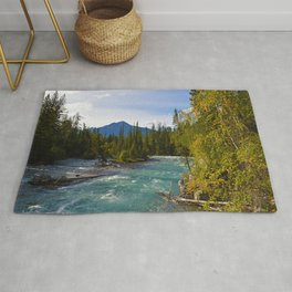 Maligne River & Pyramid Mountain in Jasper National Park, Canada Rug