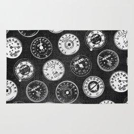 Dark Vintage Motorcycle Speedometers Rug