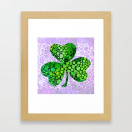Green Shamrock Art by Sharon Cummings Framed Art Print