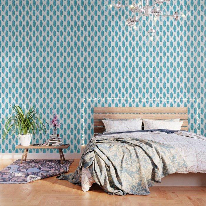 Peacock Blue Leaf Pattern Wallpaper