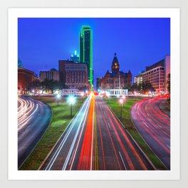 Dallas Texas Skyline - Dealey Plaza - Square Format Art Print