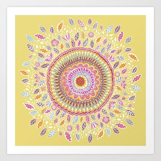 Yellow Sunflower Mandala Art Print