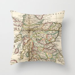 Vintage Map of Scotland (1718) Throw Pillow