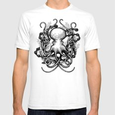 Octupus and COral (Black and White) White Mens Fitted Tee SMALL