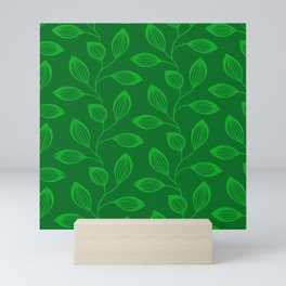 Climbing Leaves In Sage Green and Lime Mini Art Print