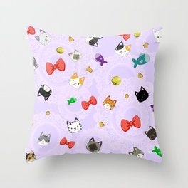 Cat Pattern Purple Throw Pillow