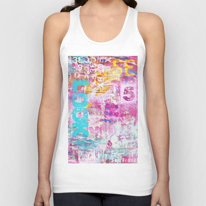 colorful mixed media typography Unisex Tank Top