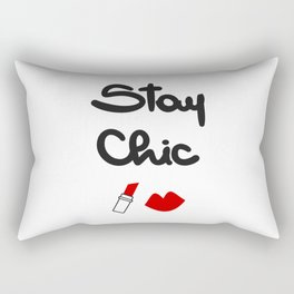 cute hand drawn lettering stay chic quote with red lips and lipstick Rectangular Pillow