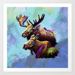 Colorful Moose Art Print
