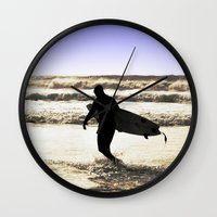 surfing Wall Clocks featuring Surfing  by  Alexia Miles photography