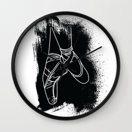 Outline of Ballet Pointe Shoes on Black Background Wall Clock