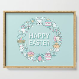 Happy Easter Wreath Aqua Bunny Eggs and Baskets - Pastel Teal Serving Tray