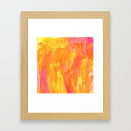 Sunny Yellow Vibes Abstract Version 2 Framed Art Print