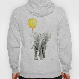 Elephant Watercolor Yellow Balloon Whimsical Baby Animals Hoody
