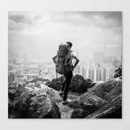 Hiker Over the City Canvas Print
