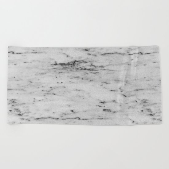 White Marble with Black Flecks Beach Towel