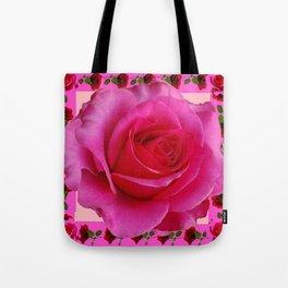 LARGE FUCHSIA PINK ROSE PATTERN ART Tote Bag