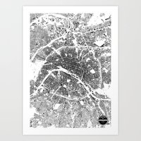 paris map Art Prints featuring PARIS MAP by Maps Factory