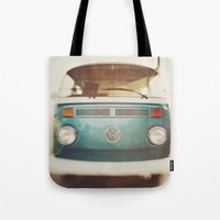 volkswagen Tote Bags featuring Volkswagen Bus by Briole Photography