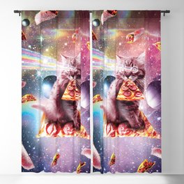 Outer Space Pizza Cat - Rainbow Laser, Taco, Burrito Blackout Curtain