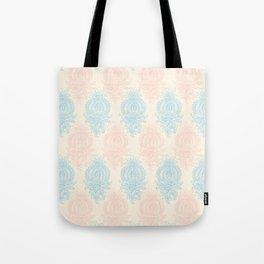 Vintage ivory coral pastel blue floral damask Tote Bag