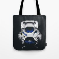 battlestar galactica Tote Bags featuring Cafe Galactica by JoPruDuction Art