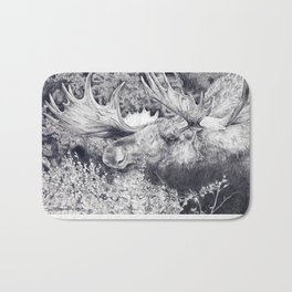 Moose in Brush Bath Mat