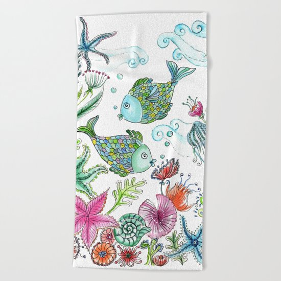 2 fishes Beach Towel