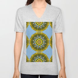 Floral mandala-style, sunflower Unisex V-Neck