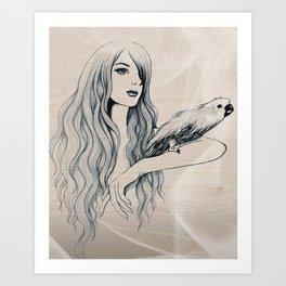 Parrot Girl 2 Art Print