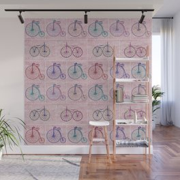 Penny Farthing Vintage Pink Repeat Pattern Wall Mural