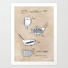 patent art Antonious Golf Club of the wood type 1969 Art Print