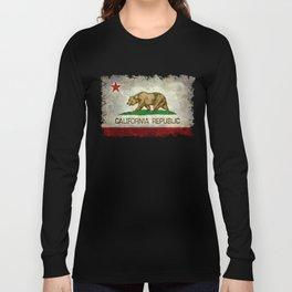 Californian flag the Bear flag in retro grunge Long Sleeve T-shirt