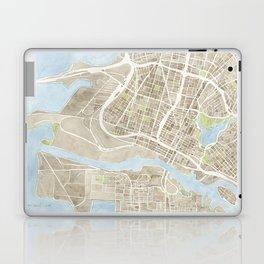 Oakland California Watercolor Map Laptop & iPad Skin